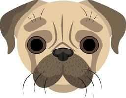 Zeichnung der Schnauze des Mops. Hundegesicht, süßer Mops. vektor
