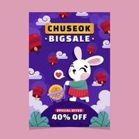 Chuseok Verkaufsposter mit süßem Hasen vektor