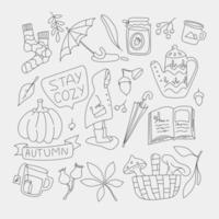 Herbstelemente Doodle Set Icons Herbstsaison Oktober einfach. vektor