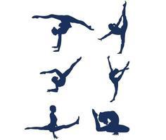 Sets rhythmische Gymnastik Sport Design 2020 Spiele Vector Illustration