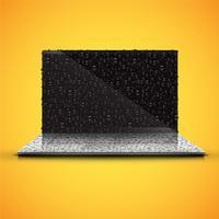 Realistisk isolerad anteckningsbok med glänsande svart skärm, med vattendroppar, vektor illustration