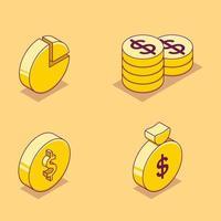 isometrische Symbolsatz der Finanzgeschäftskarikatur vektor