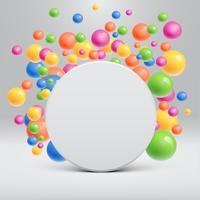 Leere weiße Schablone mit den bunten Bällen, die herum für die Werbung, Vektorillustration schwimmen
