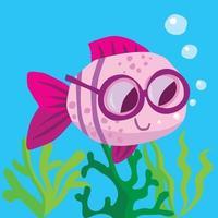 Fische mit Brille schwimmen über Algen und bläst Seifenblasen vektor