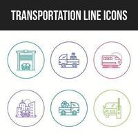 Symbolsatz des einzigartigen Transportliniensymbols vektor