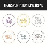 schöne Transport einzigartige Linie Icon Set vektor