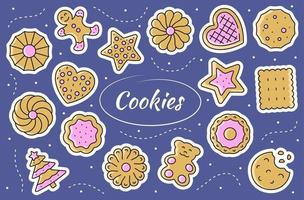 Kekse - Aufklebersatz. Lebkuchenillustration im Vektor. vektor