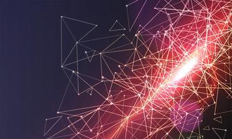 Abstrakter polygonaler bunter Hintergrund mit verbundenen Punkten und Linien, Verbindungsstruktur, futuristischer Hudhintergrund, Bild der hohen Qualität mit unscharfen Teilen