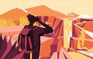 Wanderer machen Fotos von Berg- und Wasserfallkonzept vektor