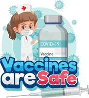 Coronavirus-Konzept mit Zeichentrickfigur und Impfstoffen sind sichere Schriftarten vektor