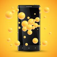 Mobiltelefonens förbättrade mättnadspresentation med färgglada kulor bakom, vektorillustration
