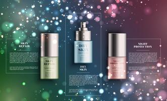 Realistisk elegant spray produkt för reklam, vektor illustration