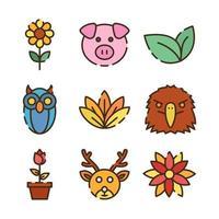 süße Flora und Fauna Symbole vektor