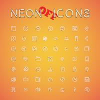 Glühende realistische Neonikone stellte für Netz, Vektorillustration ein