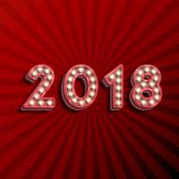 Text '18 3D für das neue Jahr mit den glühenden Glühlampen, Vektorillustration