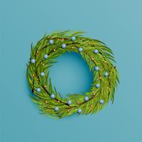 Realistischer Kranz mit Goldband für Weihnachten, Vektorillustration