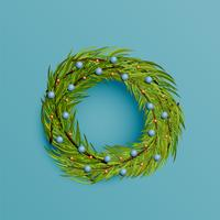Realistisk krans med guldband för jul, vektor illustration