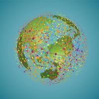 World Globe på en vit bakgrund, vektor illustration