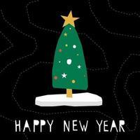 Frohes neues Jahr Kartenhintergrund. süße kindliche Fichte im Scherenschnitt vektor