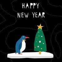 Frohes neues Jahr Karte Scherenschnitt Pinguin und Fichte vektor