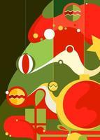 Poster mit geschmücktem Weihnachtsbaum. vektor