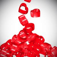 Rote verbreitende Herzen 3D, Vektor