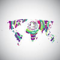 Abstrakte Weltkarte mit bunten Kreisen für die Werbung, Vektor