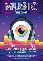 Musikfestivalplakat surreales Auge vektor