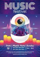 surreales Augenmusikfestivalplakat für Party vektor