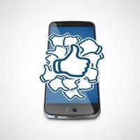 Gilla pappersskyltar på en realistisk telefon, vektor