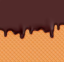 Realistisk våffla med smältkräm på den, vektor illustration