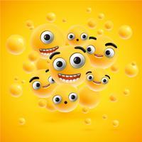 Nette hoch-ausführliche Emoticons für Netz, Vektorillustration