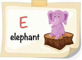Tieralphabetbuchstabe e für Elefantenillustrationsvektor vektor