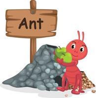 Tieralphabetbuchstabe a für Ameise vektor