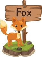 Tieralphabetbuchstabe f für Fuchs vektor