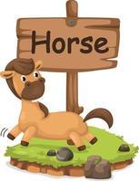 Tieralphabetbuchstabe h für Pferd vektor