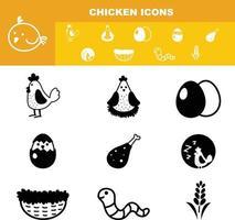 Huhn Icon Set Vektor