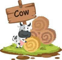 Tieralphabetbuchstabe c für Kuh vektor