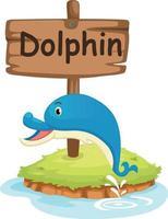 Tieralphabetbuchstabe d für Delphin vektor