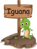 Tieralphabetbuchstabe i für Leguan vektor
