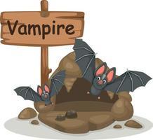 Tieralphabetbuchstabe v für Vampir vektor