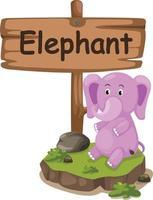 Tieralphabetbuchstabe e für Elefanten vektor
