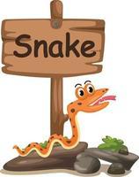 Tieralphabetbuchstabe s für Schlange vektor