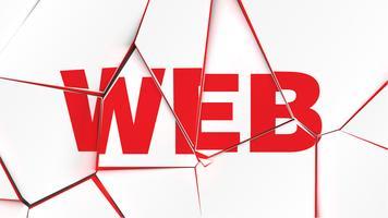 """Ord av """"WEB"""" på en trasig vit yta, vektor illustration"""