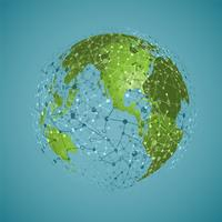 Weltkugel auf einem blauen Hintergrund, Vektorillustration