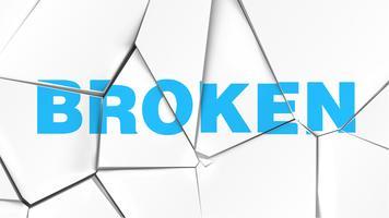Wort von 'BROKEN' auf einer gebrochenen weißen Oberfläche, Vektorillustration