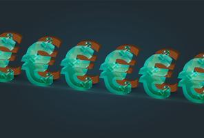 Högt detaljerade trä och glas euro tecken, vektor illustration