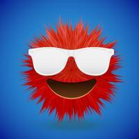 Hochdetaillierter smiley Emoticon des Pelzes 3D, Vektorillustration