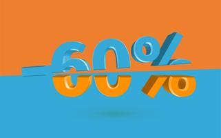 Illustration des Verkaufs 3D mit geschnittenem Prozentsatz, Vektor
