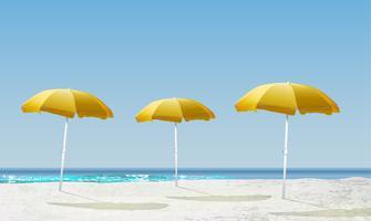 Realistisk dagsljus strandlandskap med shaders, vektor illustration